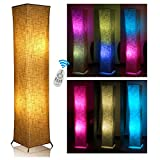 Fy-Light Floor Lamp 52' Square Column Remote Control Standing Lamp Remote Square Linen(Style 8+2 RGB blubs) Brown