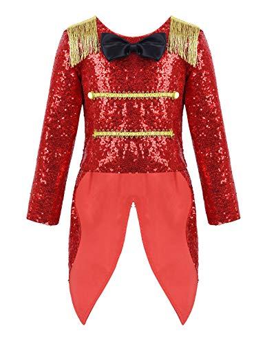 MSemis Costume Disfraz Circo Ringmaster para Niños Unisex Chaqueta Domador Cosplay Showman con Flecos Traje Brillante Disfraces Navidad Fiesta Halloween Rojo 3 años