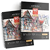 """Arteza 9x12"""" Mixed Media Sketch Pad, 2 Pack, 110lb/180gsm, 120 Sheets (Acid-Free, Micro-Perforated), Spiral-Bound Pad, Ideal for Wet and Dry Media, Sketching, Drawing, and Painting"""