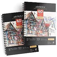 Arteza 9x12インチ ミクストメディアスケッチブック、2冊パック、110lb/180gsm、120枚(無酸性、微穿孔)、らせん綴じパッド、ウェットメディアにもドライメディアにも最適、スケッチ、 描画、絵画用