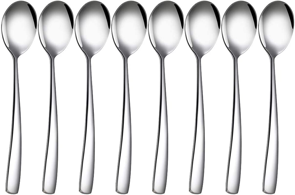 8 Pack Stainless Steel Silver Soup Spoons Dinner Spoons Dessert Spoons Salad Spoons For Home