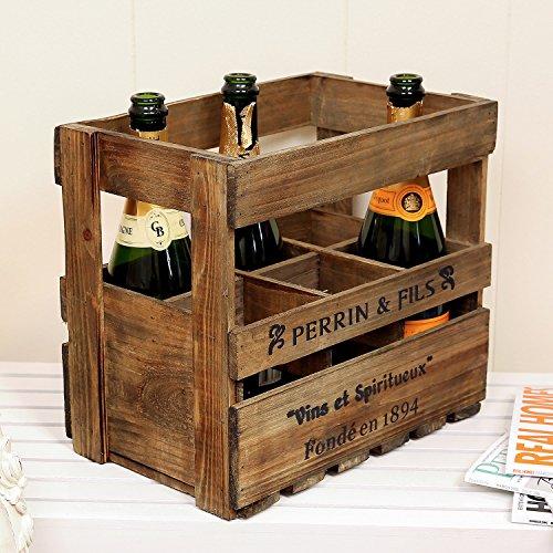 Caja de 6 botellas de vino de madera tienda para 48 cm