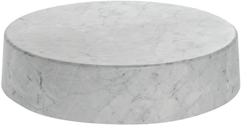 Round Marble Look Display Riser White 18 Dia X 4 H