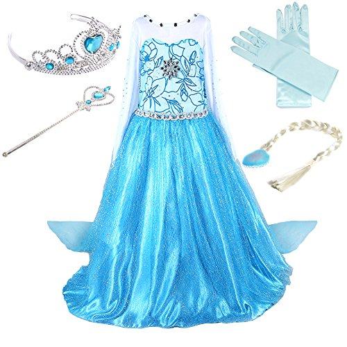 Alva Shop Prinzessin Kostüm Kinder Glanz Kleid Mädchen Weihnachten Verkleidung Karneval Party Halloween Fest (100 (Körpergröße 100cm), ELSA #02 und 4 Zubehör)