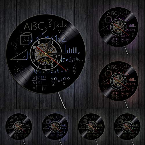 Relógio de parede com arte de ciência, equação matemática, fórmula matemática, disco de vinil, relógio de parede, matemática, pi, geek escolar, decoração de parede, presente de professor de matemática