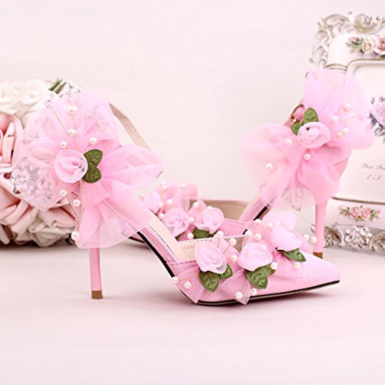 XIE XIE XIE Hochzeitsschuhe der Frauen   Brautjungfer und Braut   Handgemachte Perlen Blaume   Stiletto Ferse   Spitzzehe   High-Heels Sandalen , Rosa , CN39  8ef0a6