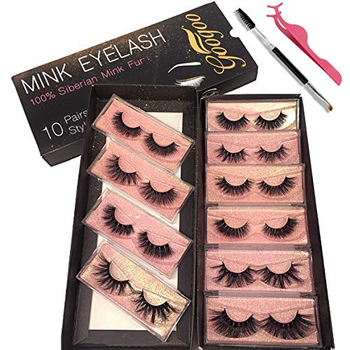 GOO GOO 3D Mink Eyelashes, 16mm to 25mm Wholesale Mink Lashes 100% Real Siberian Natural Fake Eyelashes Luxury Reusable Handmade False Eyelashes 10 Pairs Multipack