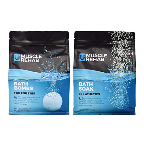 Muscle Rehab Combo Handmade Bath Bombs & Soak for Athletes & Muscle Recovery- Pure Essential Oils, Packed with Muscle Recovery Minerals