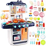 deAO 'My Little Chef' Miniature Kitchen Play Set with 34 Accessories, Induction Hob, Water, Light and...