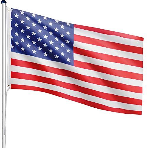 FLAGMASTER® Aluminium Fahnenmast 6,5m 5fach höhenverstellbar, 29 Verschiedene Fahnen zur Wahl, Komplettset