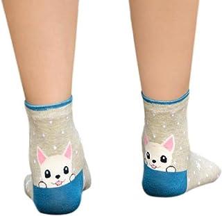 VJGOAL, Raya de Moda Casual para Mujer Animales Calcetines de Dibujos Animados Huellas de Cachorro Calcetines de algodón Transpirables(Un tamaño,Azul)