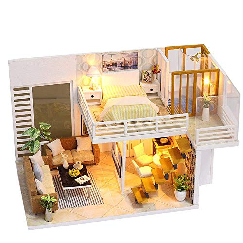 Dirgee Holzblockmöbel Kreative Haus Puppenhaus Mini DIY Puppenhaus mit Möbeln Holzhaus Kinder Spielzeug Geburtstagsgeschenke for Kinder und Erwachsene
