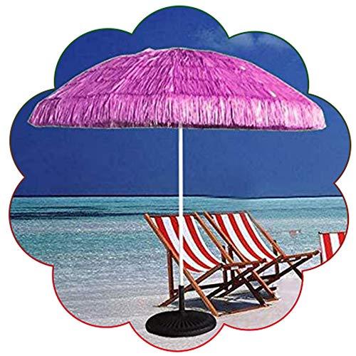 Parasol ZMLQ Tiki De 1,45 M Hula Rojo con Techo De Paja Sombrilla Hawaiana Piscina Patio Césped Playa Jardín Sombrilla, Poste De Hierro