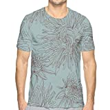 Mens 3D Printed T Shirts,Hand Drawing Style Aster Flowers in Retro Colors Romantic Nature XXL