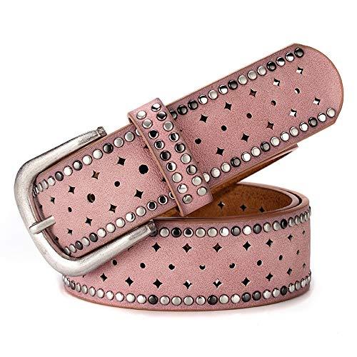 Yiph-Belt Gürtel Freizeit Frauen Leder Gürtel Legierung Dornschließe Metall verzierte Inlay Gürtel Western Cowgirl Gürtel für Hosen Jeans Kleider. (Farbe : Rosa)