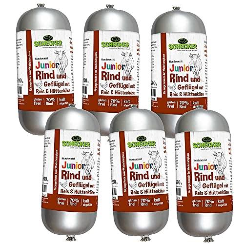 Schecker Dogreform Junior Lot de 6 saucisses pour chien au bœuf et à la volaille, riz et fromage refuge 200 g