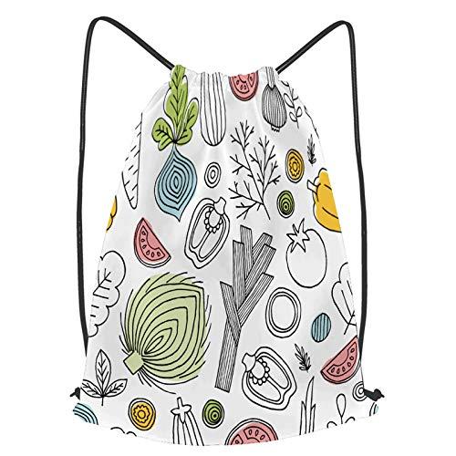 YMWEI Impermeable Bolsa de Cuerdas Saco de Gimnasio divertido, vegetales, seamless, patrón, lineal, gráfico Deporte Mochila para Playa Viaje Natación