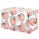 DDILKE Fruit Transparent Makeup Bags for Women Girls, Clear Travel Cosmetic Bag Toiletry Organizer Pouch Cute Print Storage bag (Peach Style)