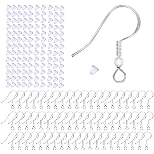 Lanzn 100 PCS 925 Sterling Silver Earring Hooks, Hypo-allergenic Fish Hook Ear Wires French Wire Hooks With 100 PCS Clear Rubber Earring Safety Backs for Jewelry Findings Earring Parts DIY Making