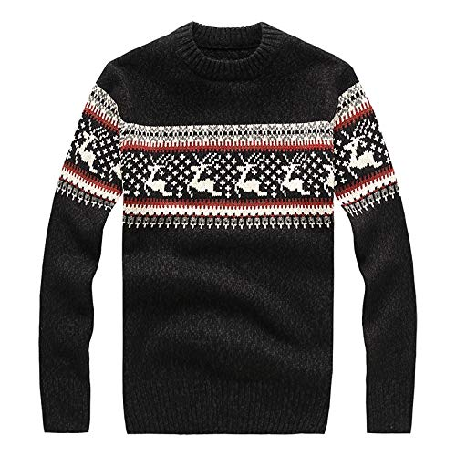 BTMING New Mens Ugly Christmas Sweater Multicolor Fashion Wool Cowl Cowl Sweater para Hombres Suéteres Tire Homme 5 Colores (Color : Negro, Size : XXXL)