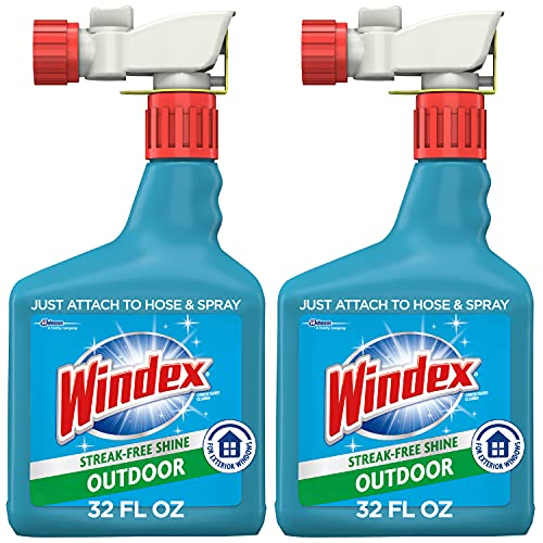 Windex Outdoor Window, Glass, & Patio Cleaner with Hose Attachment, 32 fl oz - Pack of 2 (Packaging May vary)