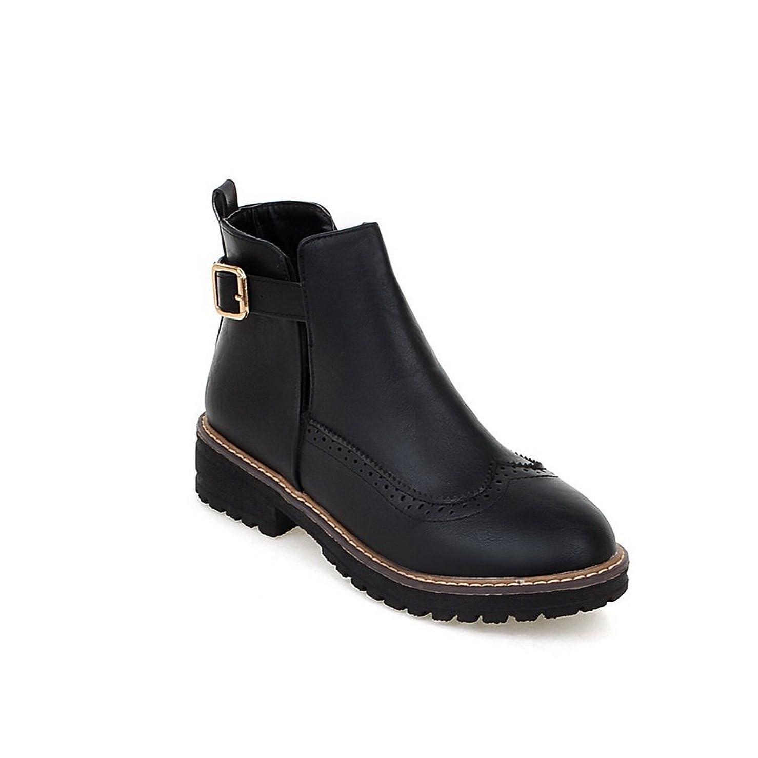 耐えられない薬を飲む天才[BalaMasa] ウィメンズ ファッションチェックのハイヒール プラットフォーム コンフォート 滑り止めソール 透かしのレオパード Puの皮 ブーツ?ブーティ