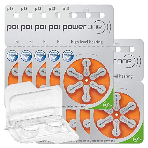 60x Varta Power One 13 Hörgerätebatterien 10x6er Blister PR48 Orange 24606 + Aufbewahrungsbox für 2 Hörgerätebatterien (10, 13, 312, 675), Batteriebox für 2 Knopfzellen bis 12 mm x 6 mm (Ø x H)