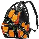 Mochila multifunción grande para pañales de bebé, mochila de viaje para mamá y papá, rama de naranja botánica vintage