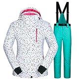 Yeah-hhi Traje de esquí de invierno para mujer a prueba de viento chaqueta de esquí conjunto de pantalones impermeables para mantener caliente al aire libre esquí y snowboard, 3,L