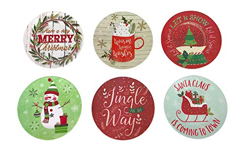 Christmas Candy Dishes: Colorful Tree Sleigh Snowman Warm Wishes and Merry Sayings, Set of 6