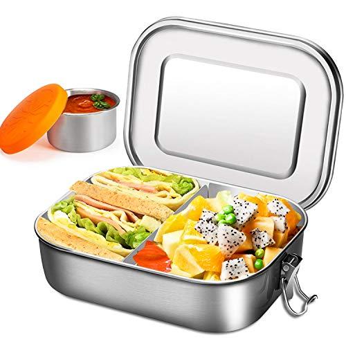 Lunch box in acciaio inossidabile con tazza per immersione - Bento box 1400 ml con parete rimovibile, contenitore per insalata | scatola da pranzo san