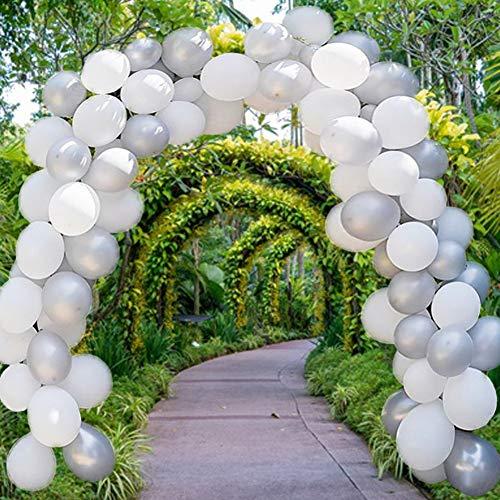 (50% OFF) Metallic White & Gray Balloon Garland Arch Kit $7.50 Deal