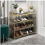 Organizador de zapateros, zapatero de 4 niveles, zapatero de pie, estante de almacenamiento de color dorado, multicapa, simple, económico, para el hogar, montaje de puerta, zapatero a prueba de polv