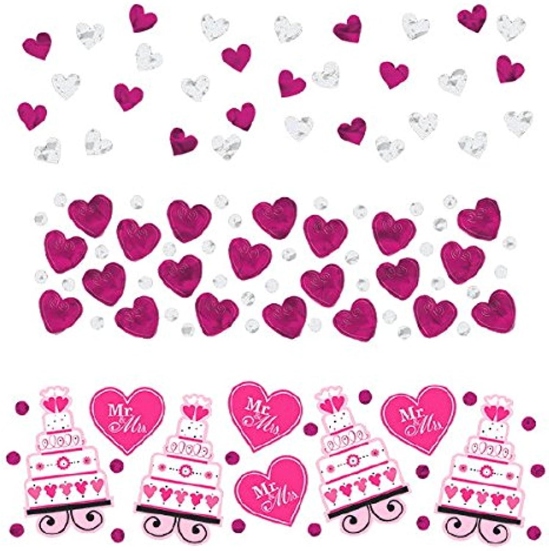 Amscan Adorable Wedding Or Bridal Shower Foil Heart Confetti Decoration Party Supplies (12 Piece), Multicolor, 1.2 Oz