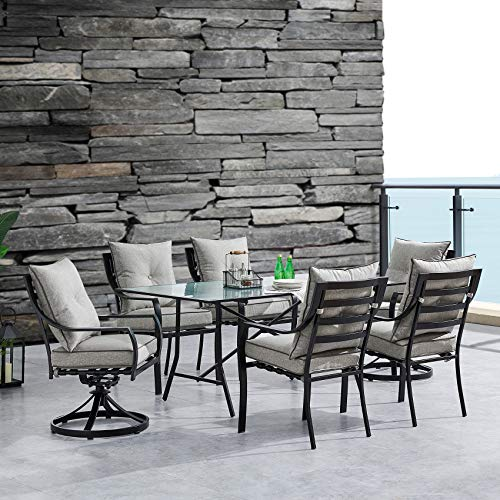 Hanover LAVDN7PCSW2-SLV Lavallette 7-Piece Silver Linings with 4 Chairs, 2 Swivel Rockers, and a 66' x 38' Glass-Top Table Outdoor Dining Set