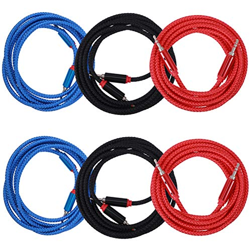 EXCEART 6 Piezas Cable Auxiliar 3. 5 Mm Macho a Macho Cable Auxiliar Trenzado Cable Auxiliar Audio Estéreo Cable de Altavoz (Color Aleatorio)