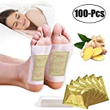 Foot Pads,Kapmore 100pcs Foot Pads for Anti-Stress Relief, Sleeping,Natural Cleansing Foot Pads for Foot Care with 100Pcs Adhesive Sheets (Gold) (Gold)