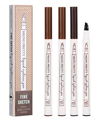 tattoo eyebrow pencil waterproof Eyes Makeup with a Micro Fork Tip Applicator Creates Natural Looking Brows Effortlessly All Day (3 colours Brown/Chestnut/Dark Gray)