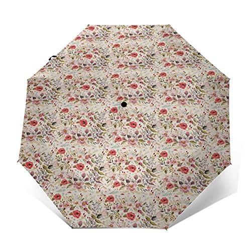 Paraguas Plegable Automático Impermeable Crema de Flores románticas de Primavera, Paraguas De Viaje Compacto A Prueba De Viento, Folding Umbrella, Dosel Reforzado, Mango Ergonómico