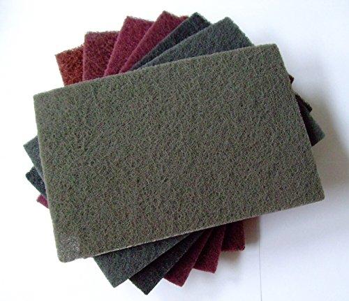 Schleifvlies-Pads 152x229mm Schleifvliesmatte 7 Stück - SET MIX Korn 80 - 800 für Holz, Edelstahl, INOX uvm..