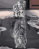 Tiger Shadow Wish DIY Pintura por números Pintura por Números con Pinceles y Pinturas Bricolaje Adultos Niños decoración de Navidad Regalos Frame Regalos con Pinceles 16x20 (40x50cm)