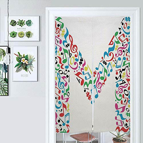 ALUONI Cotton Linen Japanese Noren Doorway Curtain Letter M,Major and Minor Notes and Other Musical Elements in Tapestry for Home Decoration AM020820 33.5 by 59 inch