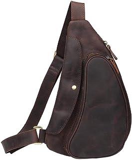 Neuleben Schulterrucksack Sling Rucksack aus echtem Leder Vintage Daypack Klein Crossbody Brusttasche Schultertasche Damen Herren für Reise Outdoor Freizeit
