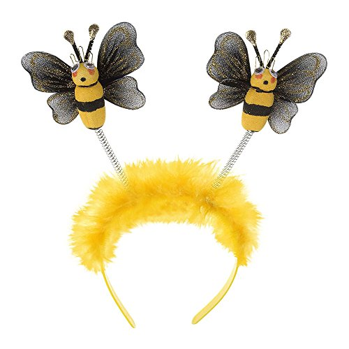 Widmann 8663B – Haarreif Bienchen, gelb und schwarz, mit Sprungfeder, Bienchen, Kopfbedeckung, Accessoire, Motto Party, Karneval