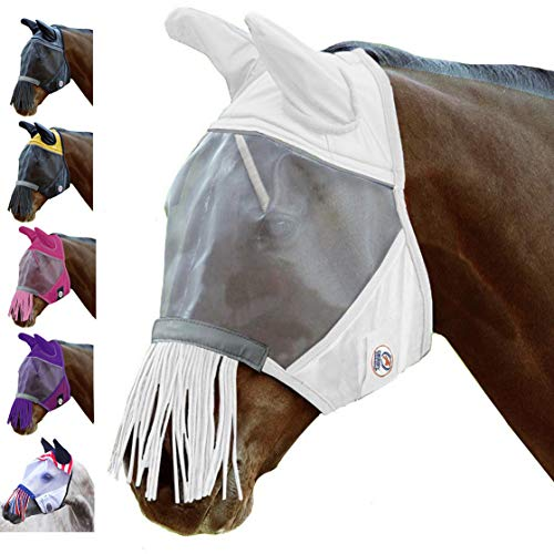 Derby Originals UV-Blocker Reflective Safety Horse Fly Mask with Ears and Nose Fringe Available in Multiple Sizes and Colors