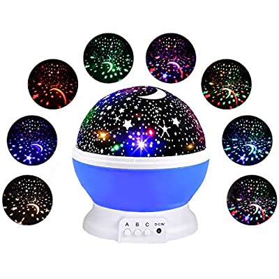 Starry Night Light for Kids, Rotating Star Light Projection Children Night Lights Moon Star Projector Lamp Xmas Thanksgiving Gift for Little Boys Girls Babies Fun Toys for 3-12 Year Old Kids Boys Blue