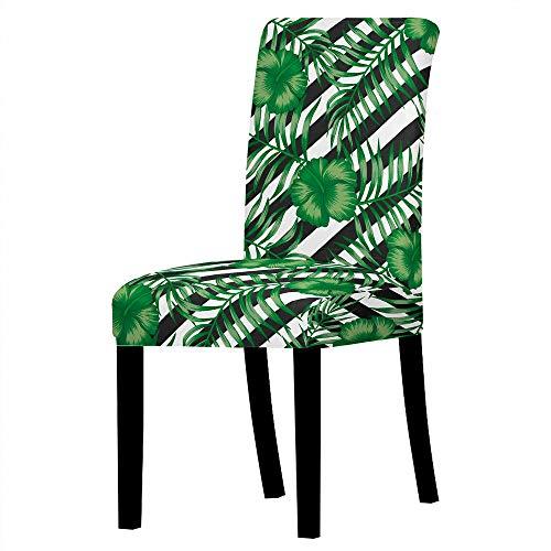GVJKCZ Fundas para sillas,Rayas de Hojas Negras Blancas Verdes sillas Elásticas y Modernas Funda Asiento...