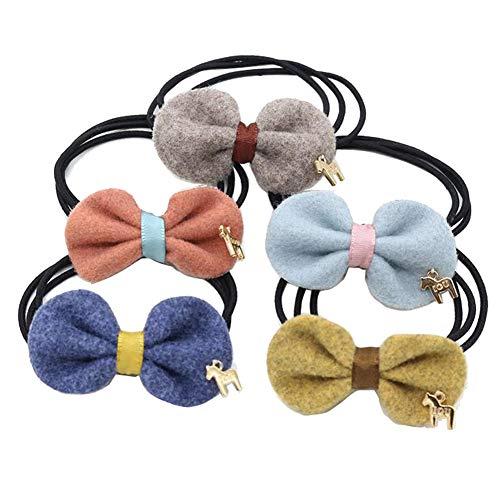 5 elastici per capelli con fiocco, elastici per capelli per coda di cavallo, elastici per capelli colorati per ragazze e donne (misti)