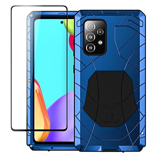 Foluu - Carcasa rígida para Samsung Galaxy A52 5G (aluminio y metal, resistente a los golpes, marco de goma suave y silicona), color azul