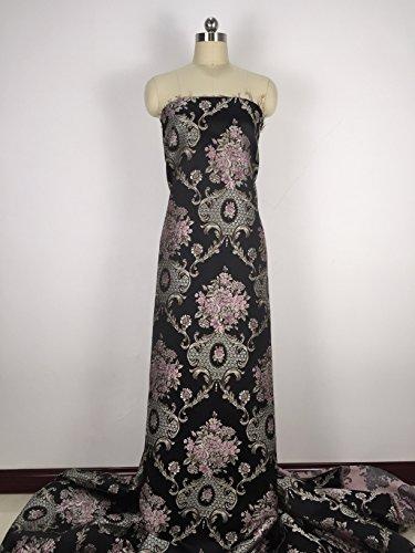 Tela de satén de damasco vintage floral para Haute Couture de 145 cm de ancho, se vende por metro. negro
